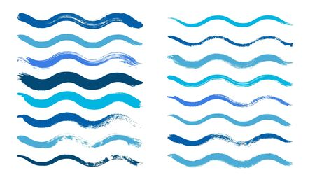 Wave brush. Cyan water waves, isolated dirty grunge painted paintbrush. Blue graphic hand drawn vector elements. Brush ink texture, stroke grunge splash, sketch stain illustration Ilustrace