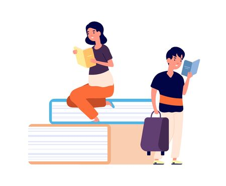 Kids and books. Cute tiny readers and huge book. Library or school, girl and boy learning vector illustration. Kids study, young child with books