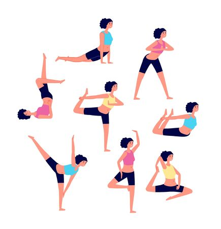 Yoga workout. Female stretching exercises. Sport different poses for women. Athlete warms up muscle, active fitness girls vector characters. Fitness pose yoga, exercise workout illustration