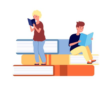 Young readers. Children with books, library concept. Tiny kids learning or reading. Students education time vector illustration. Children studying and reading textbook, study and learning