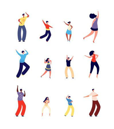 Dancing family. Happy parents dance with children. Isolated fun performance people, dancer character. Mother father kids on disco vector set. Dance family happy, children and parents illustration