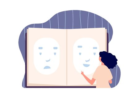 Face mask. Depression problem, smile sad faces. Girl choose emotion, personality loss. Fake happy character. Female change individual, vector concept. Problem expression emotion illustration