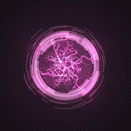Lighting circle. Purple ball, energy plasma. Electric power explosion, pink sparks and thunderbolt sphere. 3d light discharge vector illustration. Light energy glow, globe power lightning