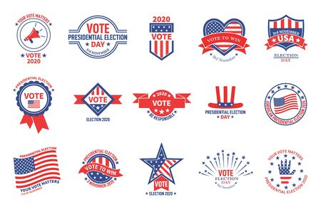 Election badges. Political campaign, usa presidential day vote. American flag patriotic voter stickers. Voting for president vector banners. Usa political vote, election american illustration Vektoros illusztráció