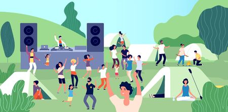 Open air festival. Happy people with children dancing. DJ set on camping, summertime vacation. Tourism, holidays on nature vector illustration. Music festival party, people outdoor entertainment