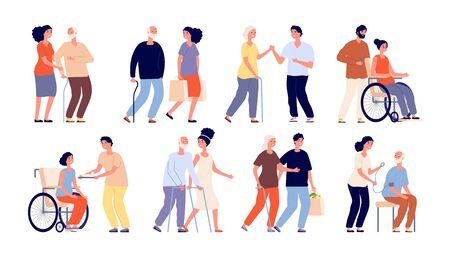 Social workers. Help group senior, volunteers. Support service community or helpful students staff. People helping elderly person vector set. Support volunteer, volunteering staff illustration