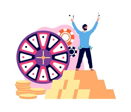 Win jackpot prize. Lucky man casino winner with golden coins. Guy playing lottery, gambling vector illustration. Casino jackpot gambling, chance lucky game