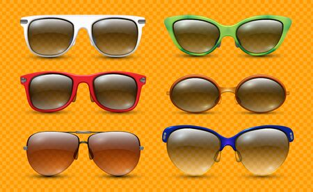 Realistic sunglasses. Fashion designer glasses. Stylish summer accessories in colored frames vector collection. Eyeglasses and goggles glamour, protective glasses sun illustration 向量圖像