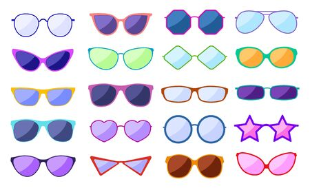 Sunglasses silhouette. Retro fashion glasses, glamour goggles. Trendy spectacles with reflection, protection eyewear. Vector icon set. Illustration fashion sunglasses and eyeglasses classic protection