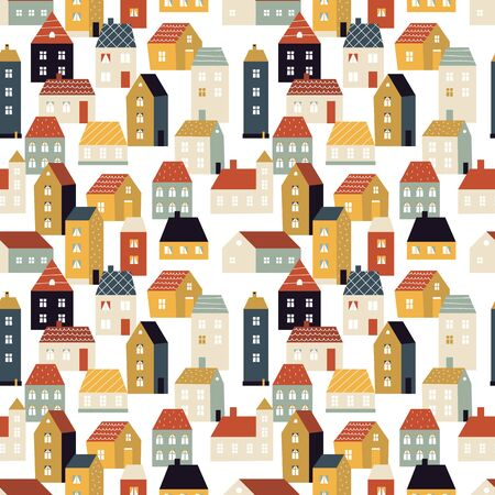 House pattern. Tiny city, cute scandinavian background with homes. Country lifestyle, neighborhood vector seamless texture. City urban tiny, town pattern cartoon illustration