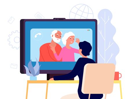 Video call with parents. Online family chat vector concept. Flat parents and son illustration. Family online communication, son and parents 向量圖像