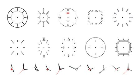 Clock faces. Modern wall watch face design. Isolated dials with needles, numbers and arrows. Black minimalistic timepiece vector symbols. Time and clock, number hour and second illustration 向量圖像
