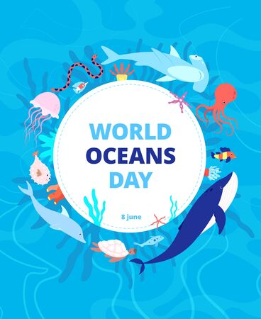 Oceans day. Clean sea, earth water. World ocean celebration background. Wild animals, shark dolphin. Environment ecosystem vector banner. Global aqua habitat, help fish and sea animals illustration 向量圖像