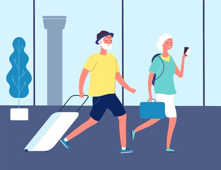 Elderly travellers. Couple in airport with suitcases. Tourists on station or international terminal. Old man and woman happy active lifestyle vector illustration. Elderly tourist, passenger group Stock Illustratie