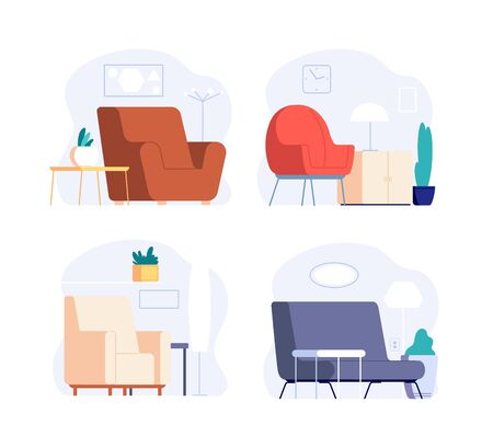 Scandinavian interior. Minimalist room furniture. Cute trendy lounge zone with armchair, pictures and plants. Modern stylish home vector set. Furniture armchair, illustration lounge apartment 向量圖像