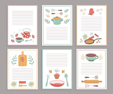 Recipe cards. Culinary book blank pages. Cookbook stickers, cute home menu. Banners for baking cooking with doodle kitchen tools vector set. Culinary page for recipe, cookbook card illustration