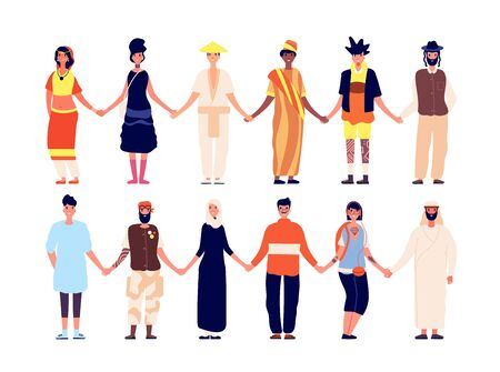 Multicultural friendship. Ethnic people group, friends holding hand. Diversity interracial community, africans asians caucasian vector set. Friendship multicultural people, happy group illustration