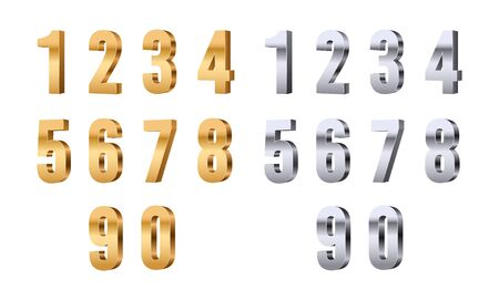 3d numbers. Gold silver digits, stylish beauty font elements. Glitter figures for price or sale, anniversary or discount. Shiny vector set. Illustration silver and gold dimensional numeral type number 向量圖像