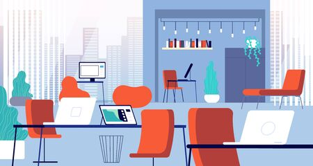 Coworking interior. Open office, chair computer workplace. Creative modern business space. Empty campus with furniture vector illustration. Office empty with furniture, campus desk and coworking space