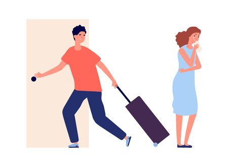 Man leaves home. Family quarrel, crying woman. Divorce, depression and negative people vector illustration. Man and woman divorce, couple problem relationship 向量圖像