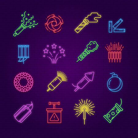 Firework icons. Neon festival dynamite, led party fireworks sign. Glowing festive spark, holiday pyrotechnic line vector elements. Neon firework glowing, celebration festive new year illustration