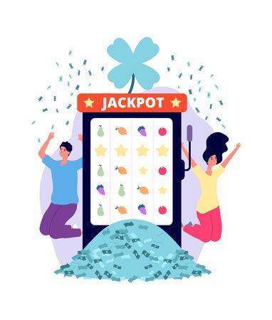 Jackpot winners. Online casino, lucky man woman with money pile. People playing lottery on slot machine vector illustration. Winner jackpot gambling, lucky game slot machine in casino