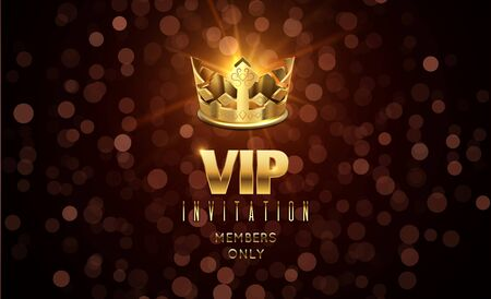 Gold crown background. Blurred glow effect, VIP invitation with golden typography. Luxury festive celebration vector banner. Golden crown and luxury vip exclusive illustration