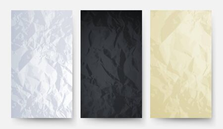 Crumpled paper. White black yellow carton texture. Empty papers banners vector set. Texture and wallpaper, billboard white and black cover illustration