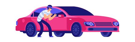 Car theft. Thief is getting close to car. Car insurance, insured event. Bad security automobile vector illustration. Thief car, theft auto, crime and robber Çizim