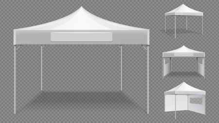 Realistic white tents. Empty folding marquee, market street stall vector template. Realistic trade folding, canopy mockup overhang illustration