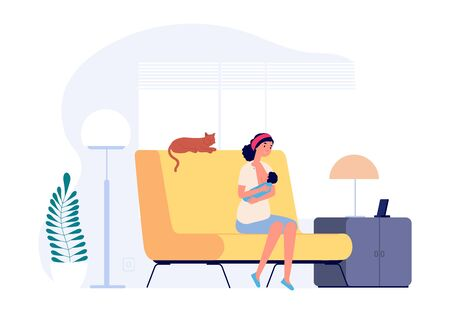 Happy young mother. Breastfeeding, woman holding newborn. Female in living room with toddler and cat vector illustration. Mother parent, baby breastfeeding, newborn and nursing