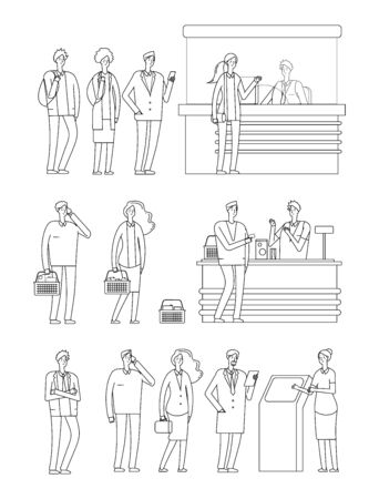 People queues. Man woman waiting lines. Isolated line characters on cash boxes. Person in grocery, station and bank. Tickets buying, pay food vector illustration. Queue line woman and man line style