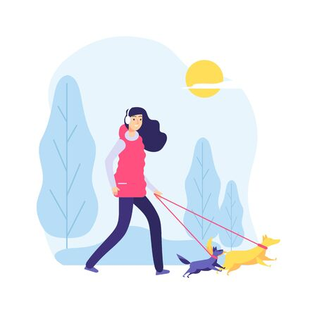 Walking dog. Woman on nature, pet owner. Two cute dogs and girl in park or forest. Healthy lifestyle with animals vector illustration. Woman with dog in park, cartoon pet and person