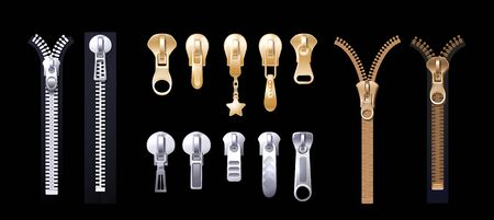 Silver golden zippers. Realistic pulls. Metal platinum fasteners for apparel. Clothing garment components, accessorises and shoes vector set. Component clasp and zip, fastener clothing illustration  イラスト・ベクター素材