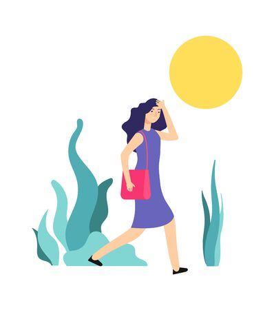 Hot weather. Sunny summer day, woman walks. Girl is hot, heat or sunstroke. Wrong summertime behavior vector illustration. Sun hot and woman sunstroke, dehydration and warm