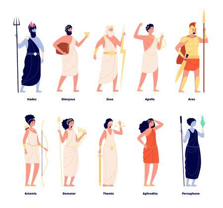 Greek gods. Mythology goddess collection. Cartoon olympians, zeus aphrodite dionysus. Isolated tale stylish characters vector illustration. Greek goddess collection, ancient mythology