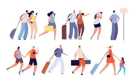 Travel people. Travellers characters, person with camera. Isolated adult and young tourist with suitcases. Man woman vacation vector set. Traveler bag and trip woman illustration