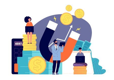 Attracting investment. Wealth magnet, people attract money. Businessman and profit, cash fast loan online. Finance energy vector concept. Attraction money, success profit attract illustration