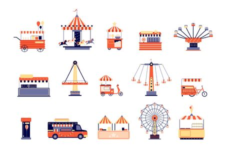 Amusement park icons. City attractions entertainment. Flat coaster and ferris wheel, carousels food tents. Isolated carnival vector elements. Amusement coaster, attraction ride horse illustration