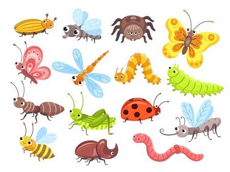 Cartoon-Insekten. Fliegenwanze, süßer Schmetterling und Käfer. Lustige Gartentiere. Ameisenhummel und Spinnenmarienkäfer für Kindervektorillustration. Schmetterling und Libelle, Heuschrecke und Spinne