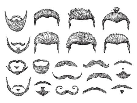 Male hairs sketch. Beard, mustache facial elements. Hand drawn hipster haircuts. Isolated fashion models barber shop hairstyles vector set. Illustration mustache hair, head drawing illustration