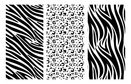 Animal print set. Leopard, zebra skin pattern. Black dots and stripes background. African wildlife, safari trendy vector seamless texture. Leopard animal pattern, seamless texture print illustration