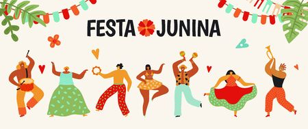 Festa Junina. Tradition brazil party. Dancing carnaval, latin june celebration poster. Summer holiday woman man with maracas. Fun dance people in cartoon style vector illustration