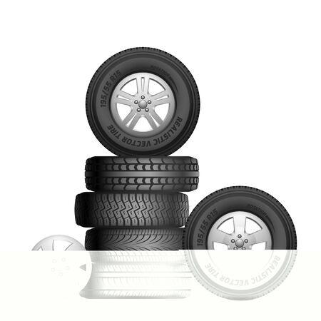 Rubber tires. Isolated realistic car wheels. Aito service, tire repair. Black wheel rim vector illustration. Rubber repair tire, automotive service