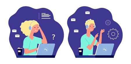Call center operators. Support service, guy girl work remotely. Administrators emergency hotline vector illustration. Man and woman support center call