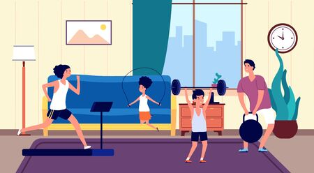 Family home workout. Mom dad son daughter sports training in living room. Joyful active people, running, jumping rope, strength exercises vector illustration. Family workout and fitness active at home