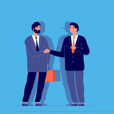 Long nose liar. Dishonest businessman hiding lie. Fake business truth. Man with pinocchio shadow. False manager cheat guy vector concept. Dishonest businessman, liar with long nose illustration