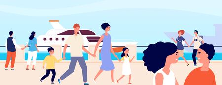Summer seafront. Young female seaside vacation. Sailing embankment, romantic mediterranean landscape. Flat sea holidays vector illustration. Seaside relax, family outdoor walking
