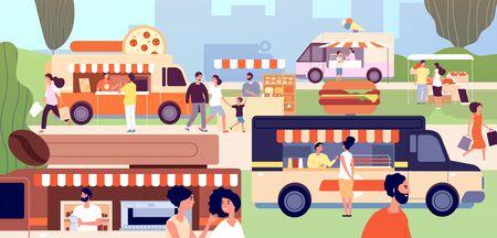 Street food festival. Festival vendors shops, outdoor business. Fast food trucks and stalls, park event. Summer shopping vector illustration. Street fast food festival, event park colorful