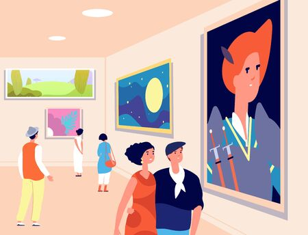 Art museum. Modern artist exhibition, contemporary gallery. People looking at artistic paintings. Excursions exposition vector illustration. Excursion and exhibition, people in gallery with picture 矢量图像